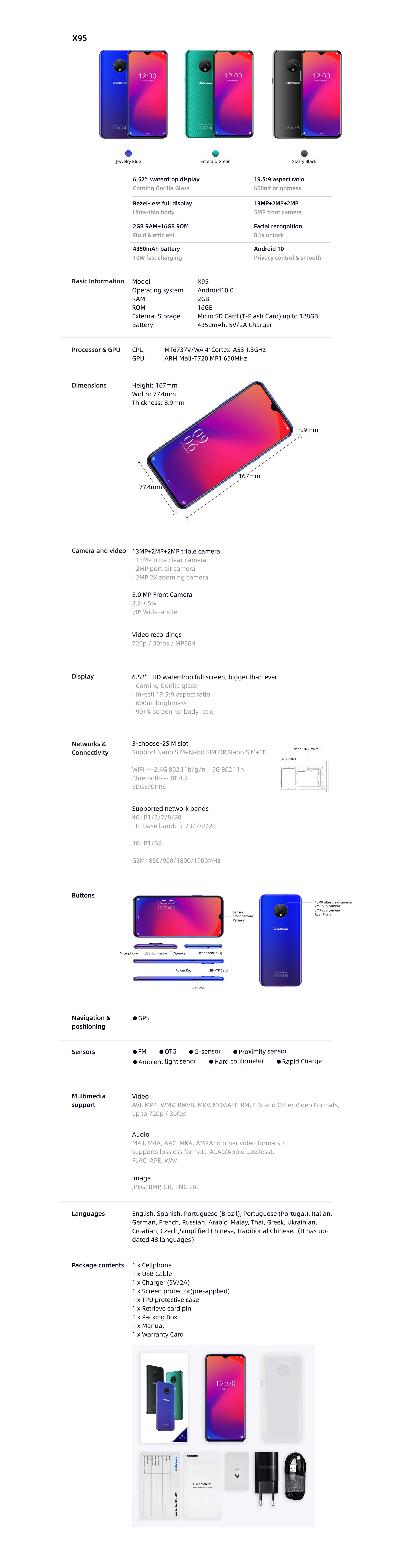 DOOGEE X95 6.52 pollici 2GB di RAM 16GB di Memoria 4350mAh Dual SIM NANO 4G 13.0MP Android 10